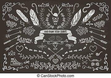 květinový, hand-drawn, základy, design