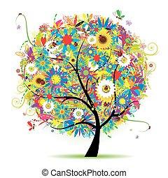 květinový, léto, strom, překrásný
