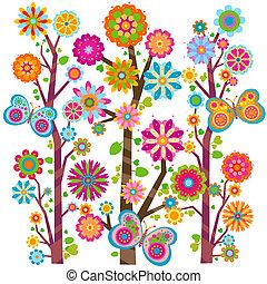 květinový, motýl, strom