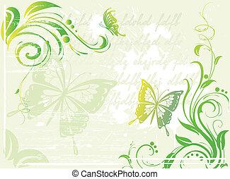květinový, nezkušený, grunge, grafické pozadí, pralátka