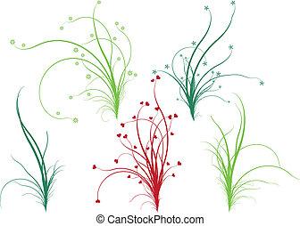 květinový, pastvina, vektor