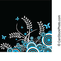 květinový, vektor, grafické pozadí