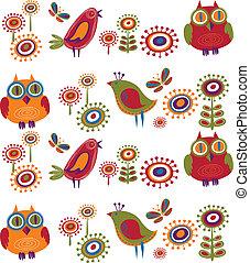 květiny, 2, -, ptáci