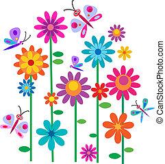 květiny, jaro, motýl