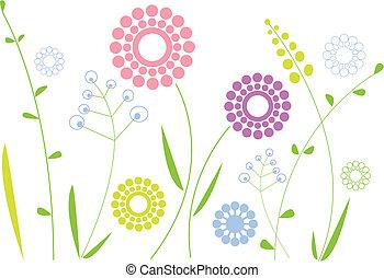květiny, pramen