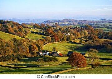 kymácení, venkov, podzim, anglický