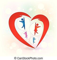 láska, rodina, ochrana, vektor, ruce, emblém