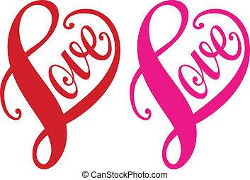 Lásku, instrukci srdce, vektor
