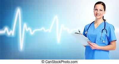 lékařský, cardiologist., falšovat