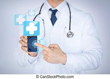 lékařský, smartphone, app, majetek, falšovat