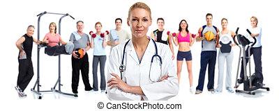 lékařský upravit, mládě, woman.