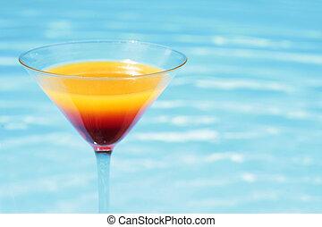 léto, koktejl, poolside