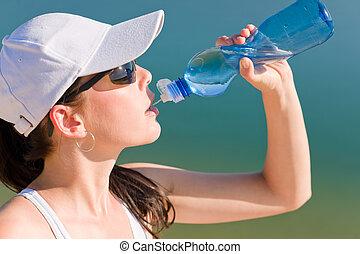 léto, manželka, fit, napití zředit vodou, láhev, sport
