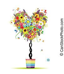 léto, nitro, hrnec, strom, forma, design, květinový, tvůj