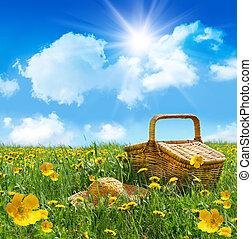 léto, piknik, maličkost, bojiště, koš, klobouk