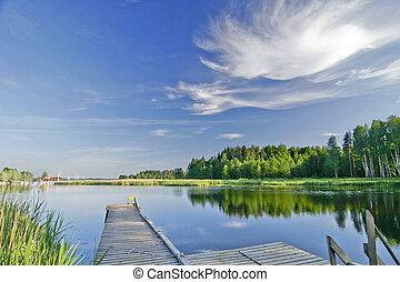léto, sytý, nebe, jezero, bezvětrný, pod