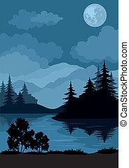 Landscape, stromy, Měsíce a hory