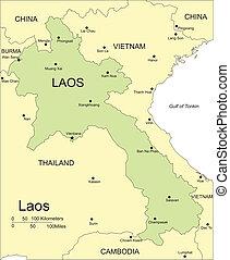 Laos, velká města, velkoměsta a okolní země