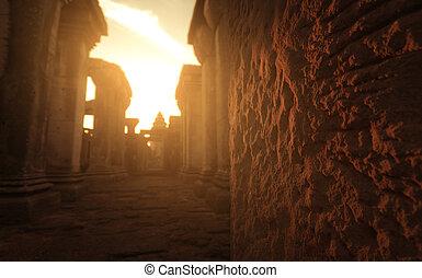 leštit, destinations., poloha, západ slunce, temple., ratchasima, starobylý, chlupatý, historický, pohybovat se, cihlový, phimai, nakhon, mezník, sluneční světlo, hněď, stavení., khmer, dějinný, park., sky., dávný, thailand.