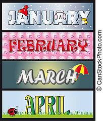 leden, únor, pochod, duben