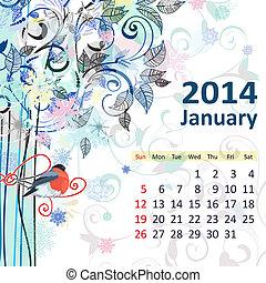 leden, kalendář, 2014