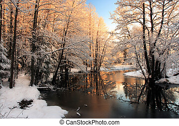 lehký, řeka, zima, východ slunce