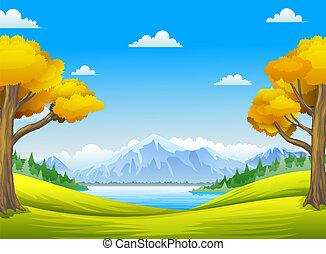 Les s velkým stromem, horami a řekami