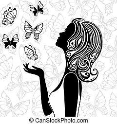 let, motýl, manželka, silueta, mládě