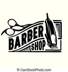 letadlo, emblém, vektor, barbershop, vkusný, nůžky