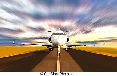 Letadlo odlétá s rozsáhlým pohybem