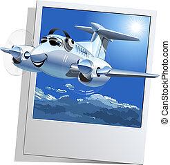 letadlo, vektor, karikatura