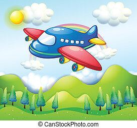 letadlo, vyvýšenina, barvitý, přes