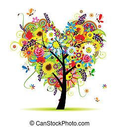 Letní květinový strom, srdeční tvar