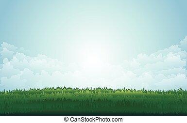 Letní louka a hory vrcholí s západem slunce. Vektorová ilustrace