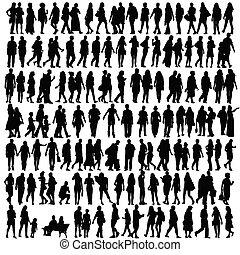 Lidé siluette, černý vektor