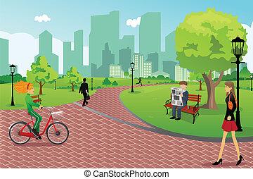 Lidé v městském parku