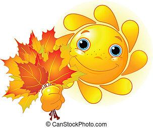 list, podzim, slunit se