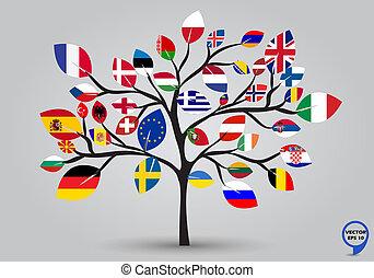 list, vlaječka, strom, evropa, design