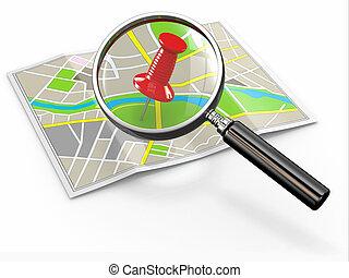 location., nález, napínáček, loupe, mapa