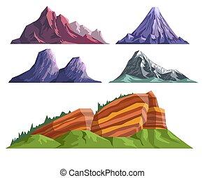 Lodní konstrukce je nastavena různými horami a spící sopkou