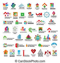 logos, vektor, vybírání, zlepšení, konstrukce, domů