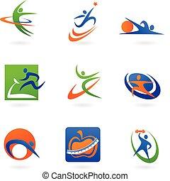 logos, vhodnost, barvitý, ikona