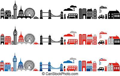 londýn, ilustrace, město, vektor