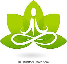 lotus, emblém, jóga, /, ikona