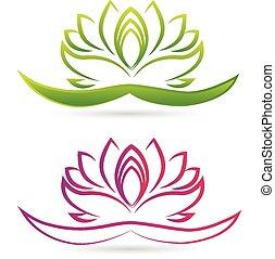 lotus, emblém, květ, vektor
