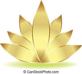 lotus, emblém, květ, zlatý