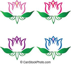 lotus, emblém, květiny, dát, vektor