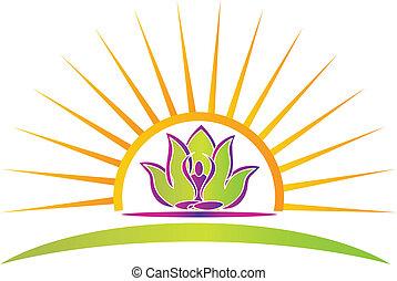 lotus, jóga, slunit se, figura