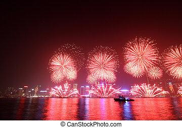 Lunární ohňostroj v Hong Kongu 2011