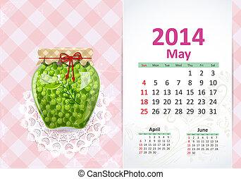 máj, kalendář, 2014